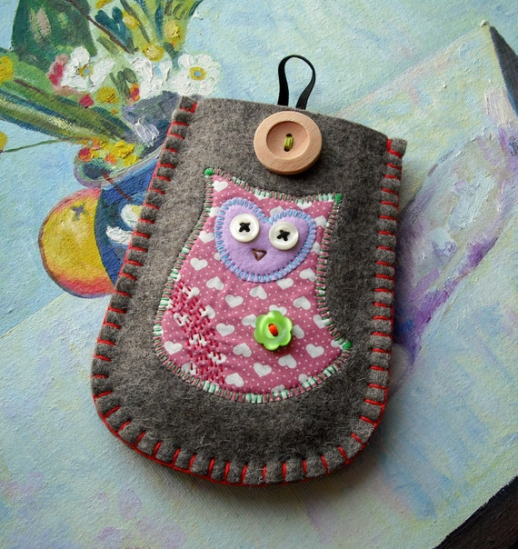 Pink Owl Felt Phone Case