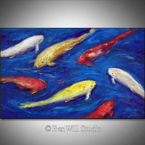 Large koi fish painting original colorful koi pond by benwill for Colorful pond fish