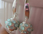Ivory and Mint Lampwork Earrings with Sterling Silver