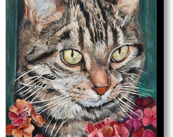 Custom Pet Portraits of Cats - Cat Portrait - Cat Painting from your Photo - Portraits by NC