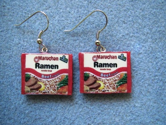CLOSEOUT - Yummy Ramen Noodle Kitsch Dangle Polymer Clay Junk Food Earrings Hypo Allergenic Nickle-Free