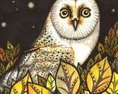 Barn owl - PRINT of original ink drawing by Tanya Bond - Night is full of wonders - wild bird, stars and trees