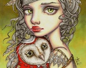 ATHENA and her Royal Companion - surreal pop fantasy art girl and owl - 5x7 print of an original painting by Tanya Bond - tanyabond