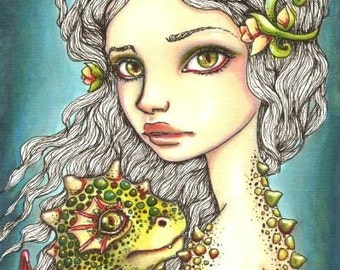 Mia and Onyx - dragons - 5x7 print of a fantasy painting by Tanya Bond