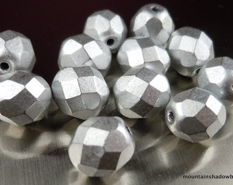Czech Glass Beads 8mm Firepolished Faceted Matte Silver 12 (G - 352)