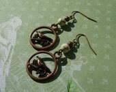 Bird Earrings White Howlite and Copper dangle earrings