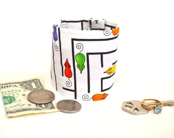 KIDS- Secret Stash Money Cuff- Mousetrap- New Print- - hide your cash, lunch money, health info and house key in a hidden zipper.
