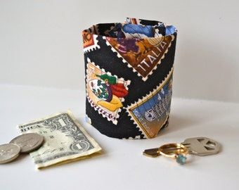 "Money Cuff Wrist Wallet - ""Secret Stash""- -Postage Travel Stamp-- hide your cash, key, jewels,  health info, in a hidden inside zipper"