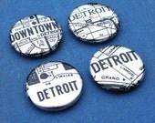Metallic Detroit Map Magnets - Set of Two