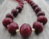 Graduated Faceted Ruby Jade and Freshwater Pearl Chunky Necklace