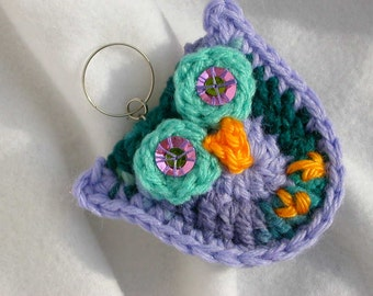 Multi Purple & Teal Owl Key Fob