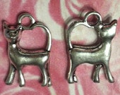 Cat Charms - 24 pc. -  Regal Cat - 3D Cat - Kitty Charms - Cat Charms Bulk - Antique Silver - Tibetan Charms - Animal Charms
