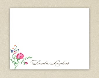 Personalized Flat Notecards (15) - Southern Floral