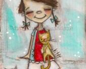Print of my Original Folk ARt Painting - Kitty, Kitty, Kity