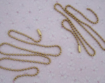 """6 pcs. brass plated steel 18"""" ball chain w connector 2mm wide - f2750"""