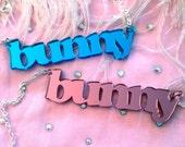 Pink or Blue Mirror Acrylic BUNNY Necklace