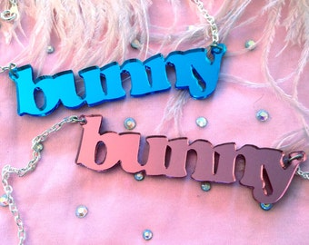 Pink or Blue Mirror Acrylic BUNNY Necklace