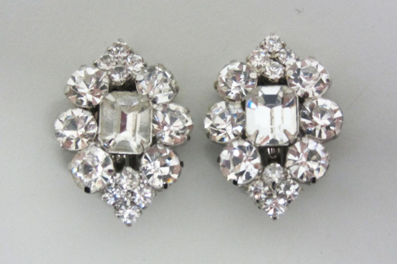 Rhinestone Earrings Vintage 92