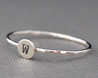Initial Ring, Tiny Silver Ring, Personalized Jewelry, Sterling Silver, Typewriter font