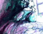 La Traviata art print - violet purple opera illustration