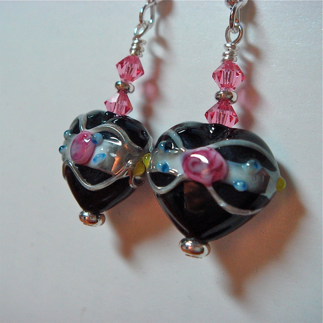 Black Glass Bead Heart Wedding Cake Earrings with Rose Pink