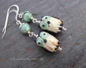 Hootie - Green, Black Glass Owl Dangle Earrings