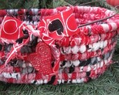 VALENTINE'S DAY   textile art tote BASKET with heart