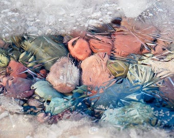 Icy Pastels, Lake Rocks and Winter Ice, Montana Rocks, Nature's art, Photograph or Greeting card