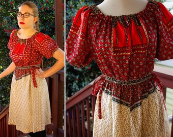 Bohemian 1950's 60's Vintage Ethnic European Red and Cream Dress by Fred Rothschild California