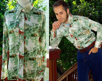 London Station 1970's Vintage Green and Brown Scenic Polyester Button Down Shirt with Pointed Collar by KOKOBAY size Medium