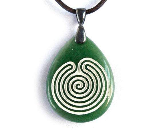 Chakravyuha Labyrinth - Engraved Stone Pendant Necklace - Green Dyed Jade