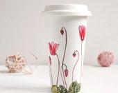Ceramic Eco-Friendly Travel  Mug - Cyclamen | Botanical Collection
