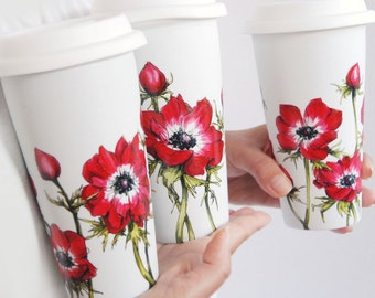 White Ceramic Travel Mug Double Walled Porcelain with Lid - Anemonies, Botanical Collection
