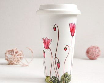 Ceramic Eco-Friendly Travel  Mug - Cyclamen | Botanical Collection