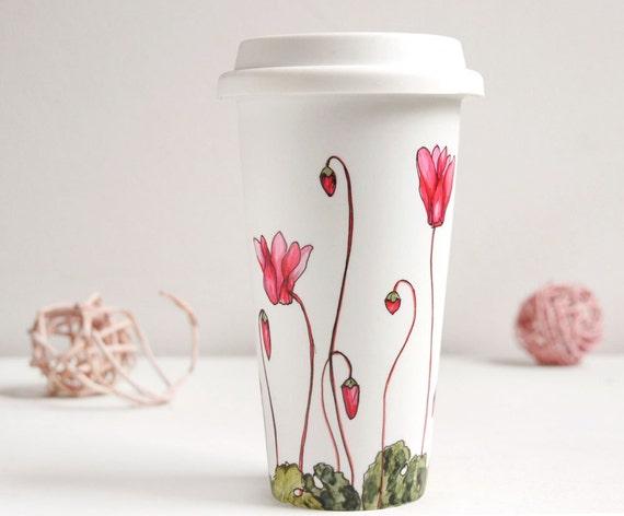 Ceramic Eco-Friendly Travel  Mug - Cyclamen, Botanical Collection