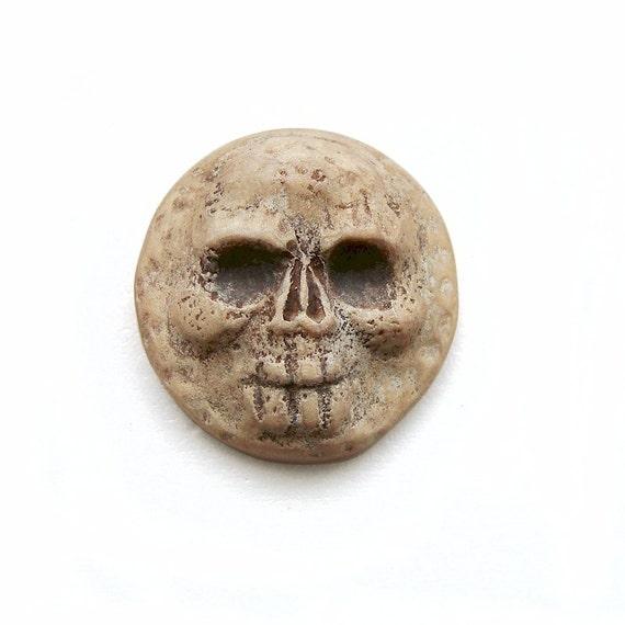 Skull Faux Bone Art Face Cab Round Skeleton Halloween Day of the Dead Spooky Dia De Los Muertos Cream Beige Rockabilly 2715 polymer clay