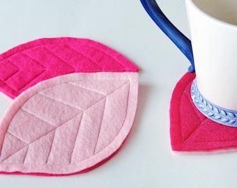 Pink Felt Leaf Coasters (set of 3)
