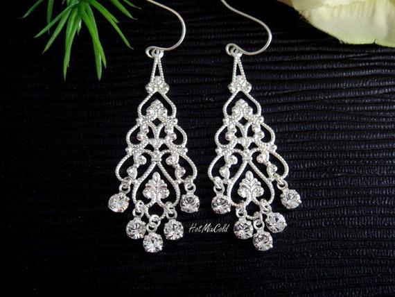 Rhinestone Filigree Chandelier Earrings, Crystal Diamond Drops Earrings, STERLING Silver -Scarlett- Bridesmaids gifts, wedding jewelry
