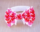 Dog or Cat Bow Tie: Red and Pink Valentine Hearts