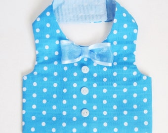 Dog Clothes Boy Dog Vest Turquoise Polka Dots Swaddle vest Sample Large only