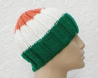 Ribbed beanie hat, skull cap, green white orange, striped hat, Irish hat, knit toque, ski shred, mens womens hat, chemo cap, skateboard hat