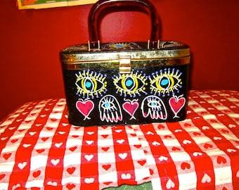 Evil Eye  Eyes  Hamsa  Vintage  60s  Box Purse Altered  repurposed  Lucite Handle  OOAK  Protection