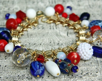 Patriotic Beaded Charm Bracelet - Vintage Red, White, Blue Beads - One of a Kind