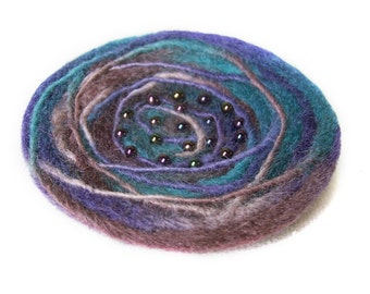 Pin - Felted Wool in Teal and Purple