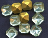 LARGE OCTAGON RHINESTONES  Lot of (25)  Vintage Clear Crystal Glass Square 12mm x 12mm Gold Foil Back jc oct12  mORE AVAlLABLE