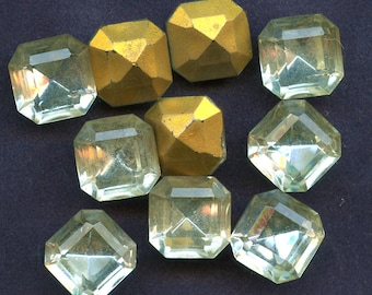 LARGE OCTAGON RHINESTONES  Lot of (72)  Vintage Clear Crystal Glass Square 12 mm x 12 mm Gold Foil Back jc oct12  mORE AVAlLABLE