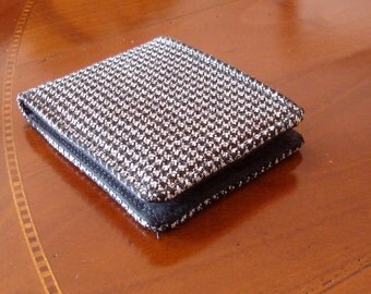 Mens wallet Houndstooth Wallet black and white  7 Pocket Billfold Checkered bifold Small pocket size wallet