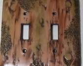 Bark of a tree double toggle light switch cover
