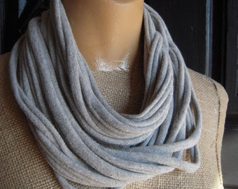 Gray Jersey Scarf Upcycled Layered Tshirt Scarf Necklace
