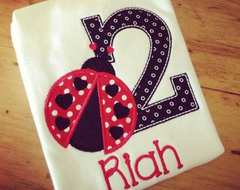 Little Lady Ladybug Birthday Appliqued Tee Your choice of number or letter